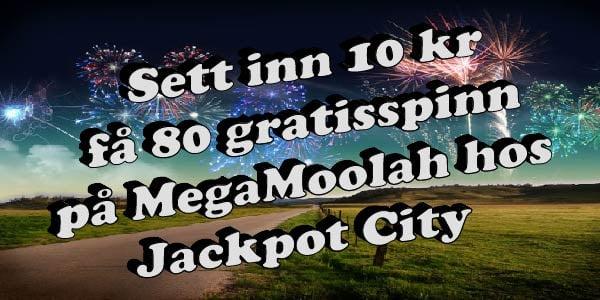 Sett inn 10 kr få 80 gratisspinn på MegaMoolah hos Jackpot City