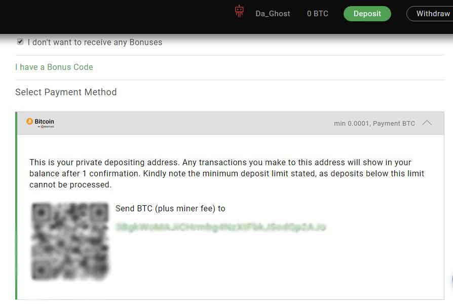 Deposit Bitcoin Page using wallet address