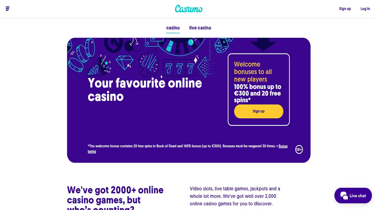 Screenshot of Casumo Casino