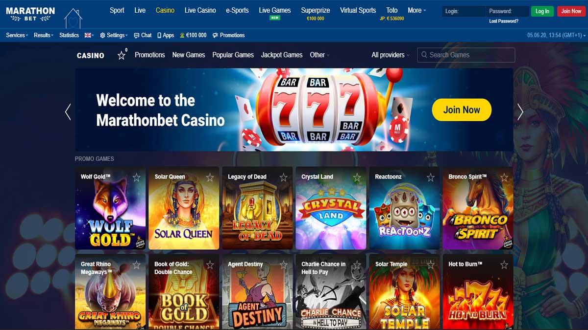 Marathonbet casino Screenshot
