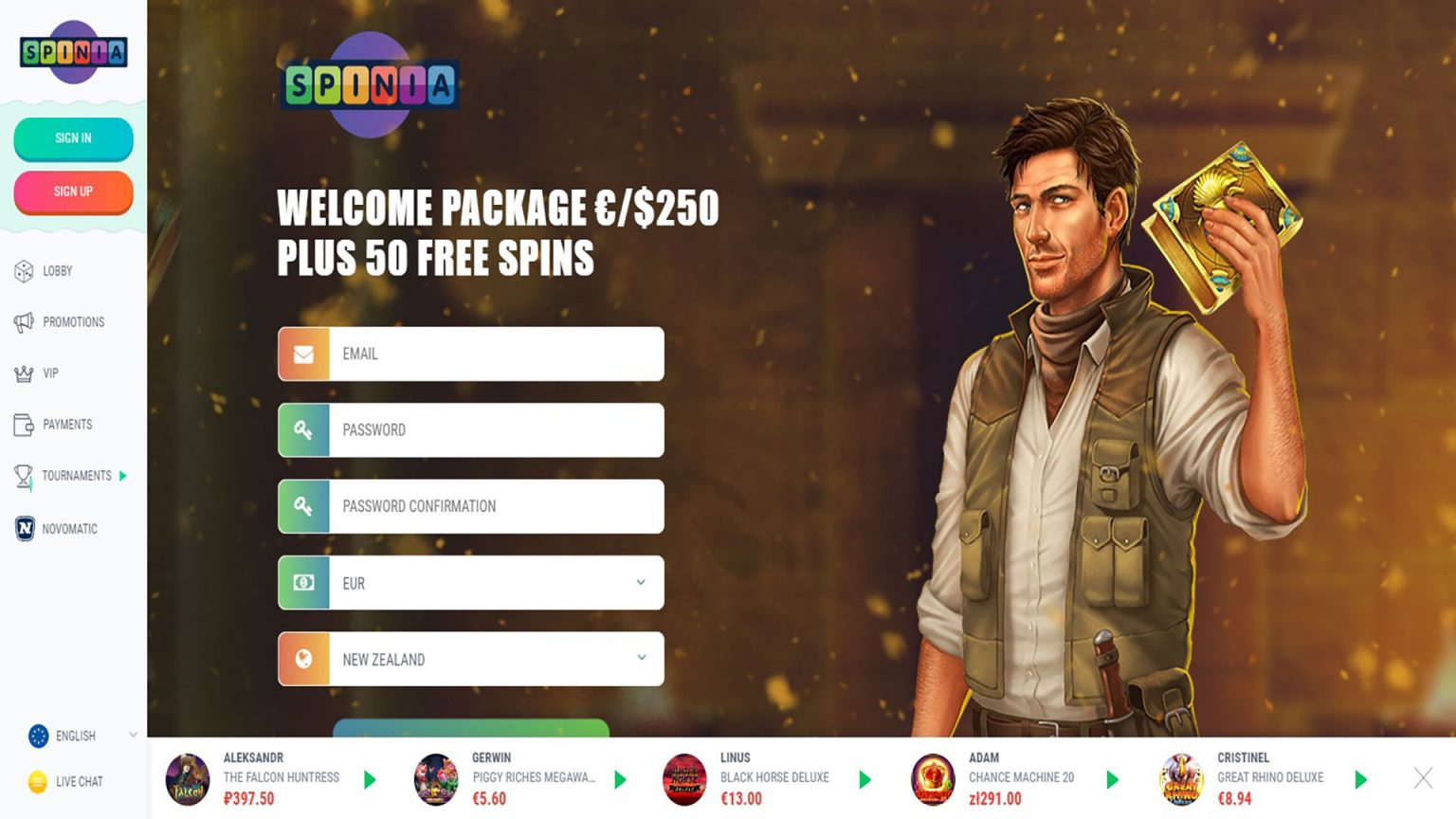 Spinia Casino Screenshot