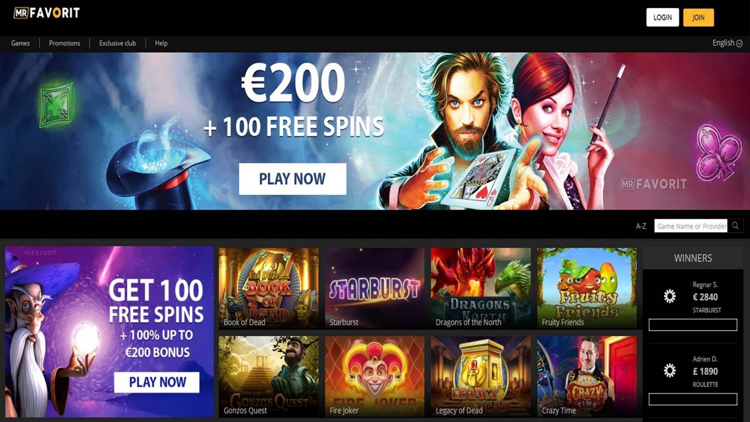 Mr Favorit Casino Screenshot
