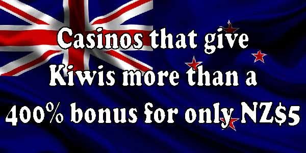 Casinos that give Kiwis more than a 400% bonus for only NZ$5
